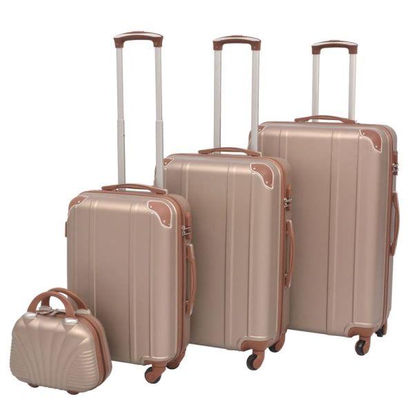 vidaXL Set de valize trollere, culoare șampanie, 4 buc.