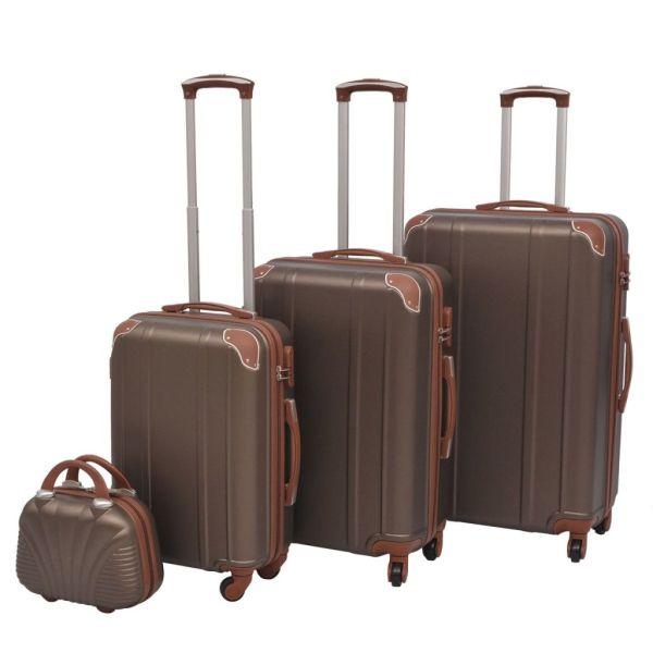 vidaXL Set de valize dure, cafeniu, 4 buc.