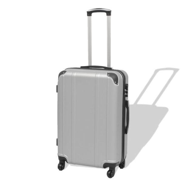 vidaXL Set de valize carcasă tare, argintiu, 4 buc.