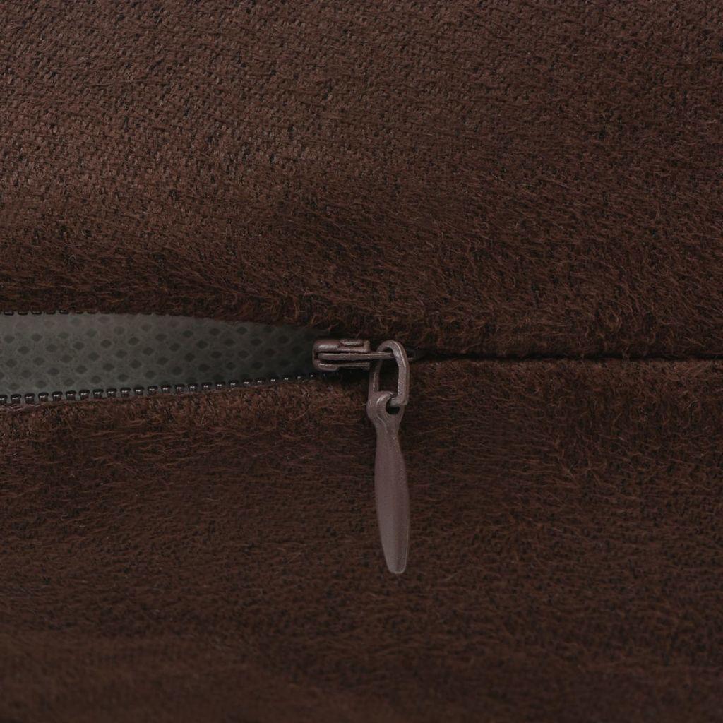 Huse de pernă din velur poliester, 50 x 50 cm, maro, 4 buc.