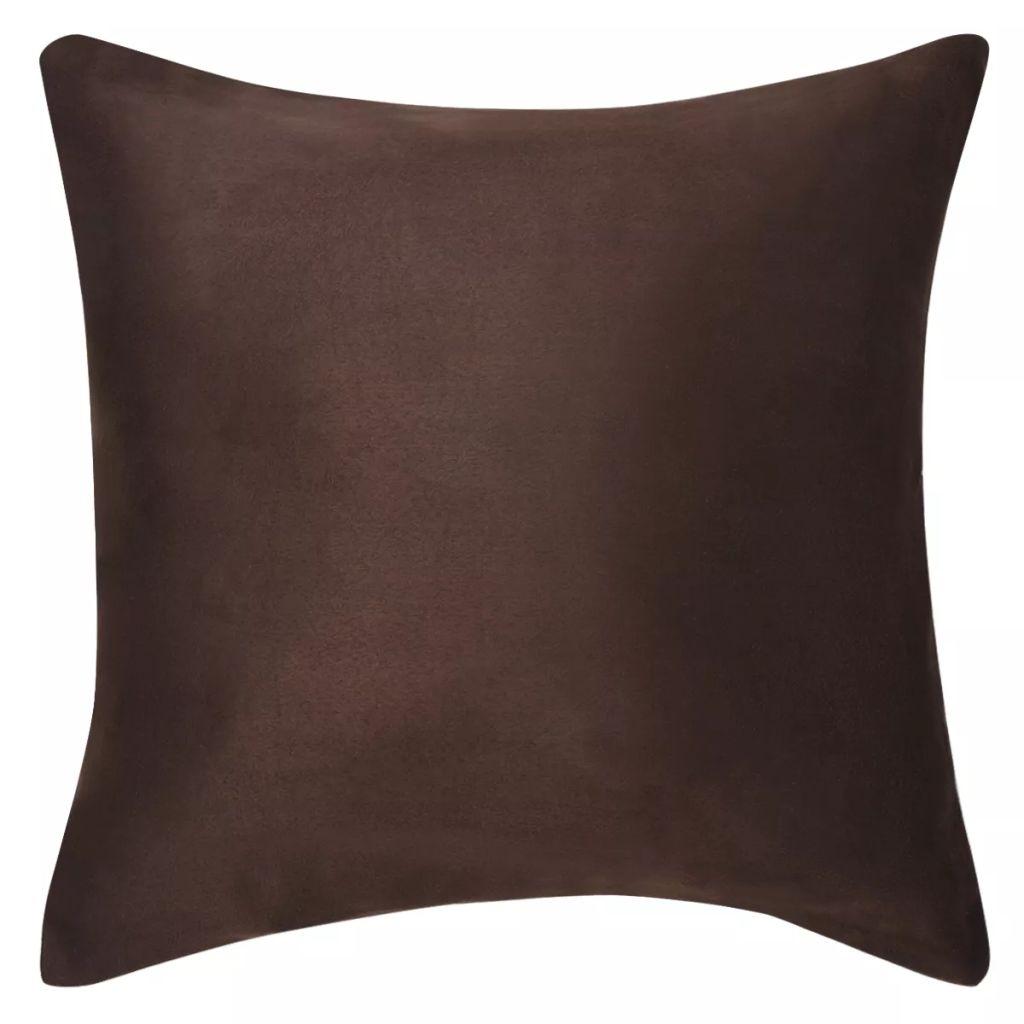 Huse de pernă din velur poliester, 80 x 80 cm, maro, 4 buc.