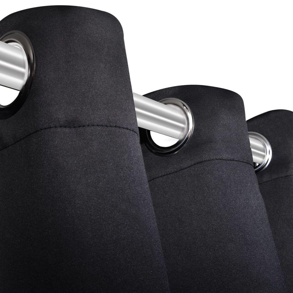 vidaXL Draperii opace cu ocheți metalici, 2 buc, 135 x 175 cm, negru