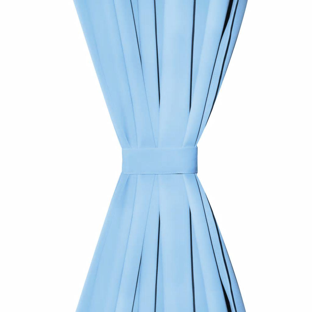 Draperii opace cu ocheți metalici, 2 buc, 135 x 245 cm, turcoaz