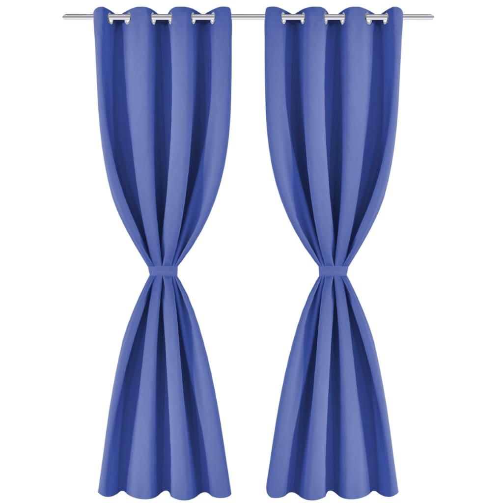 vidaXL Draperii opace cu ocheți metalici, 2 buc, 135×245 cm, albastru
