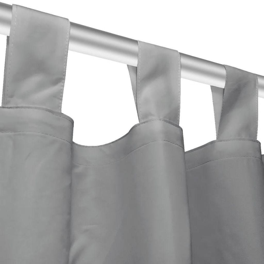 vidaXL Draperii micro-satin cu bride 2 buc, 140 x 245 cm, gri