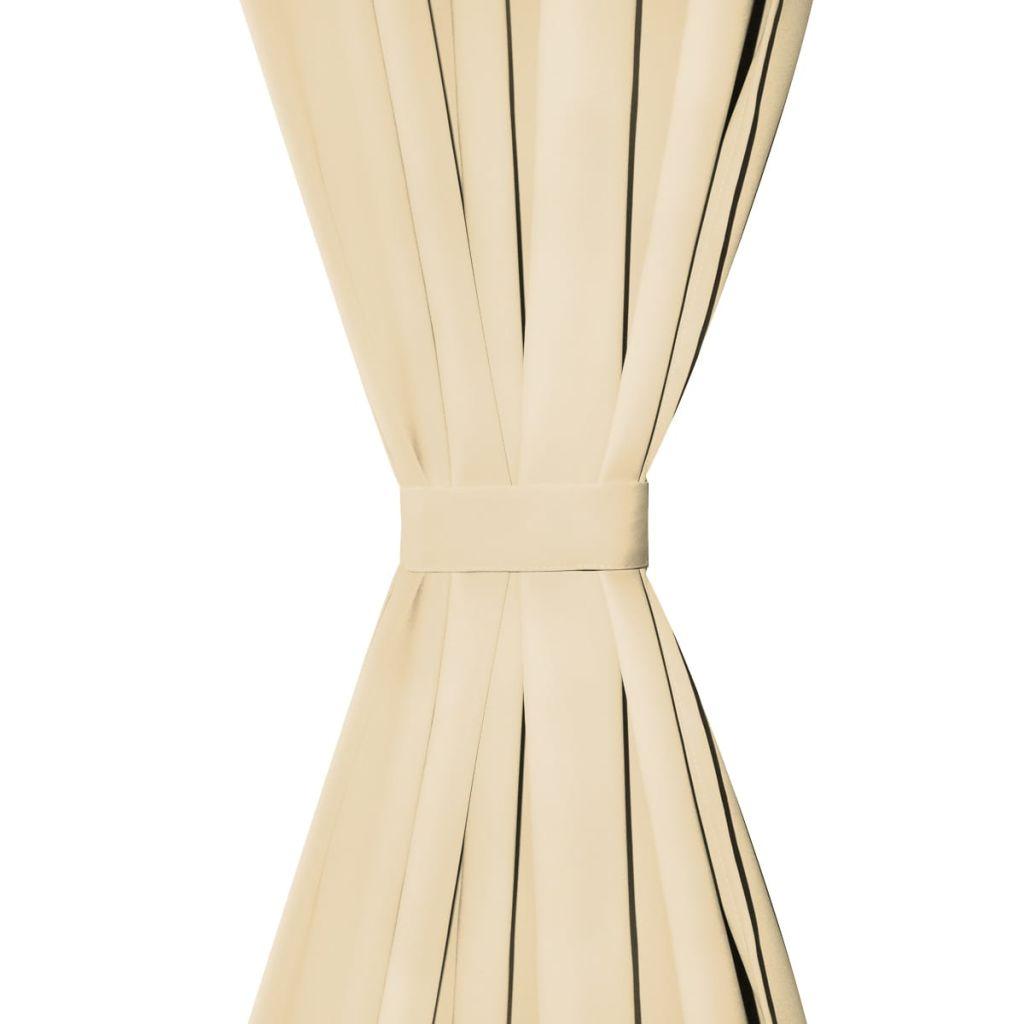vidaXL Draperii micro-satin cu bride, 2 buc, 140 x 175 cm, bej