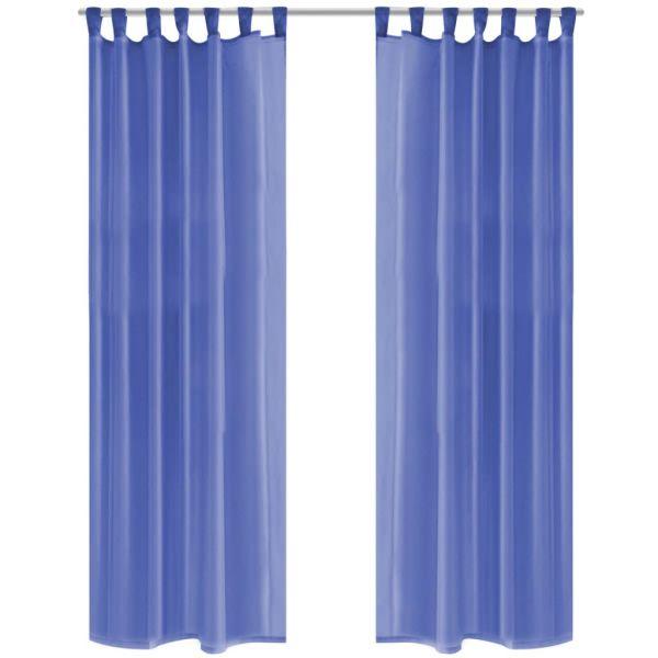 vidaXL Draperii din voal, 2 buc., 140 x 175 cm, albastru regal