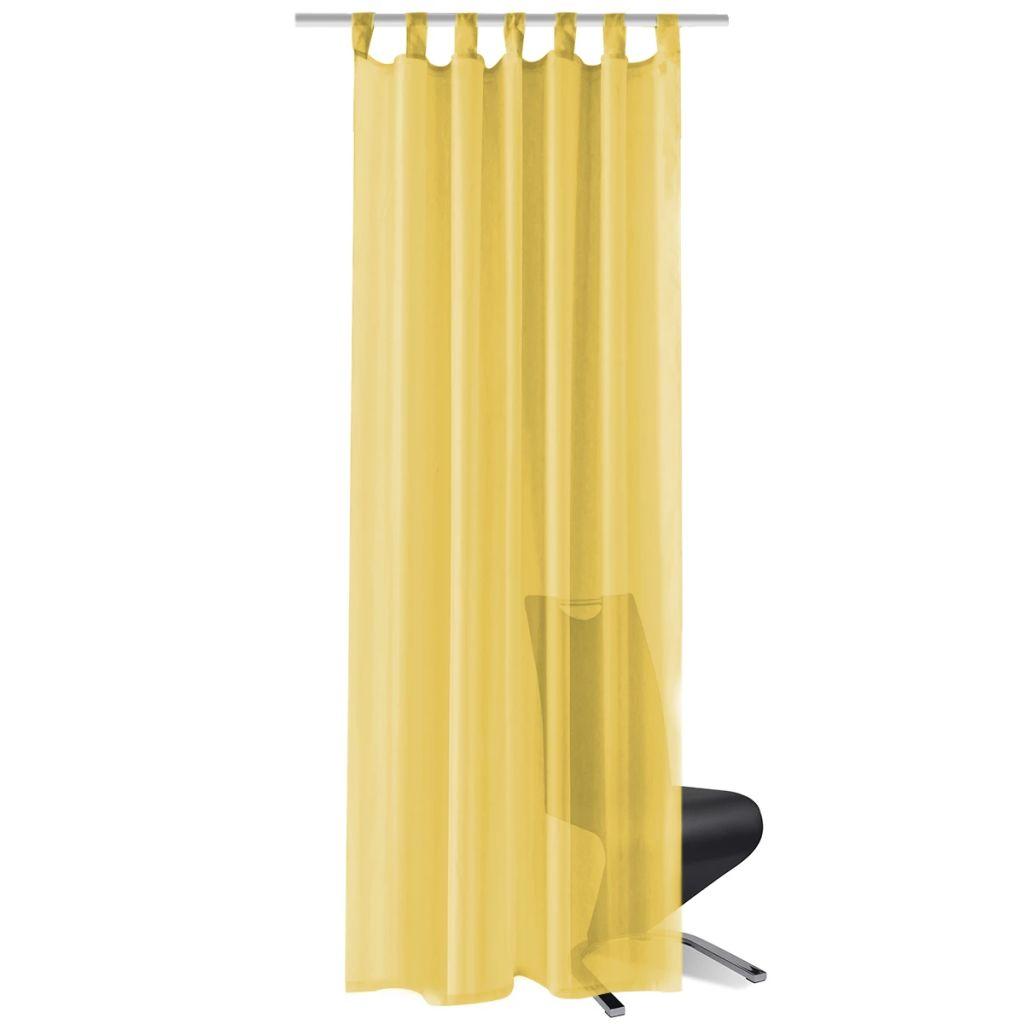 Draperii din voal, 2 buc., 140 x 245 cm, galben