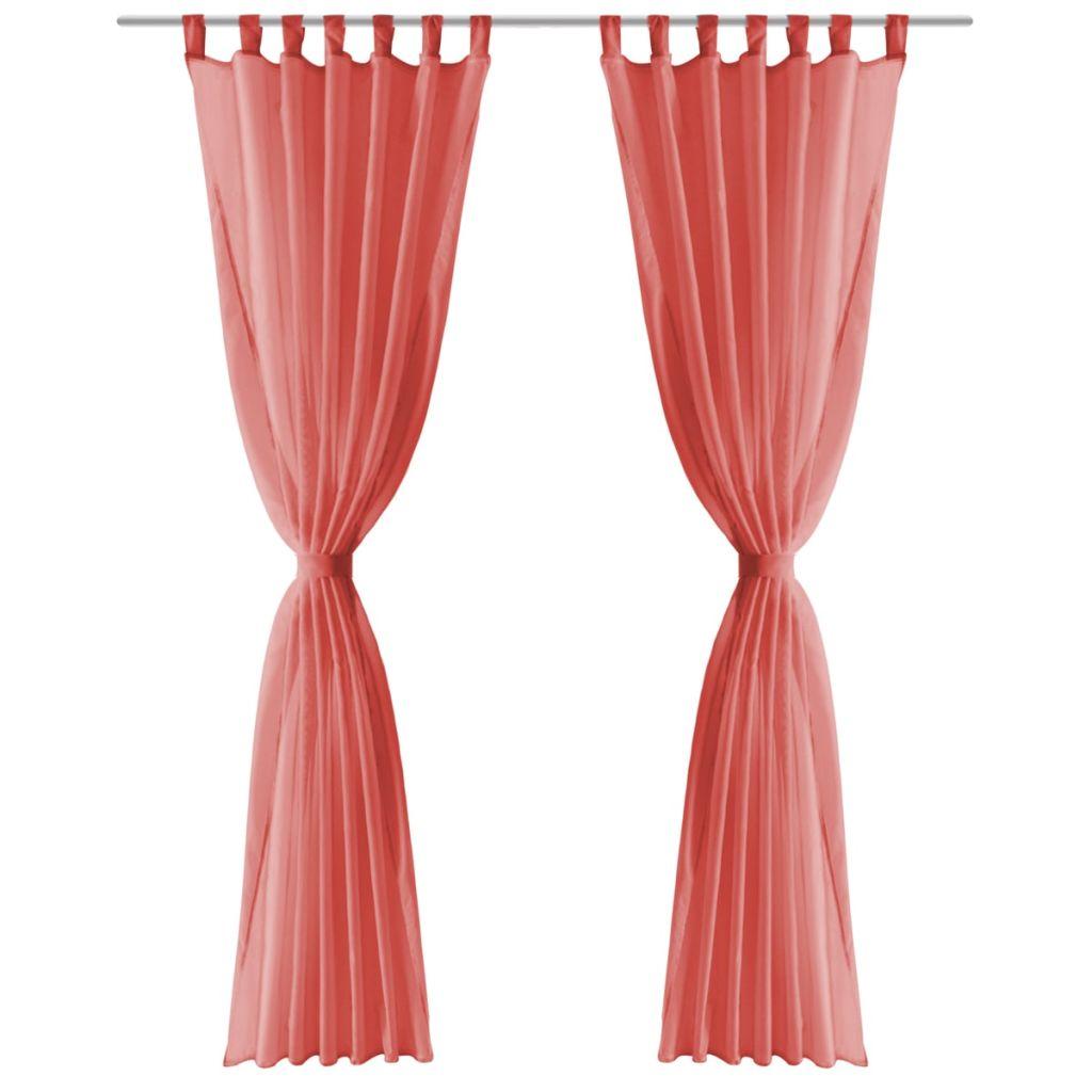 Draperii din voal, 2 buc., 140 x 245 cm, roșu