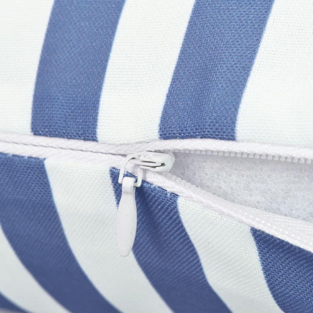 Perne de exterior, 2 buc., imprimeu dungi, 45×45 cm, bleumarin