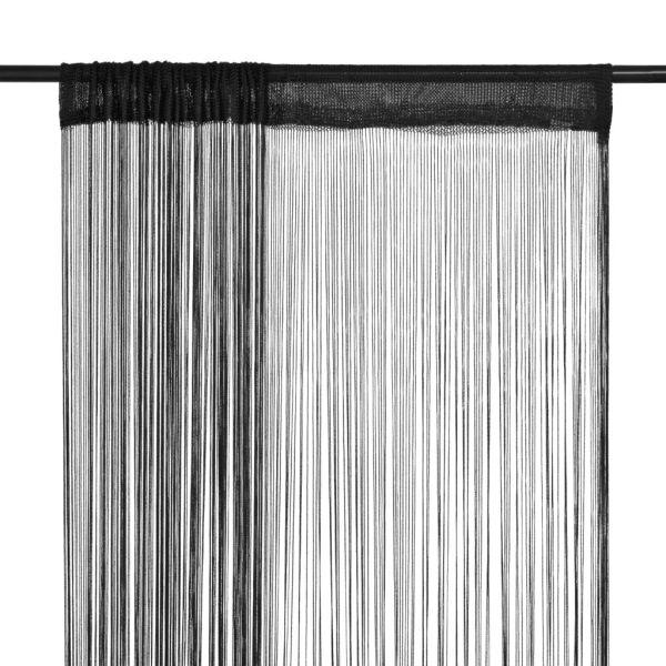 vidaXL Draperii cu franjuri, 2 buc., 140 x 250 cm, negru