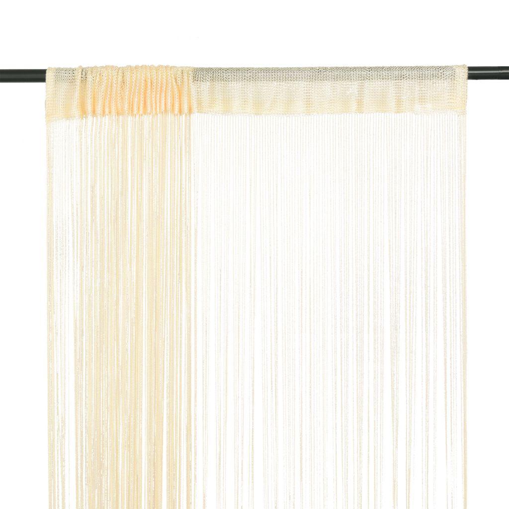 vidaXL Draperii cu franjuri, 2 buc., 100 x 250 cm, crem