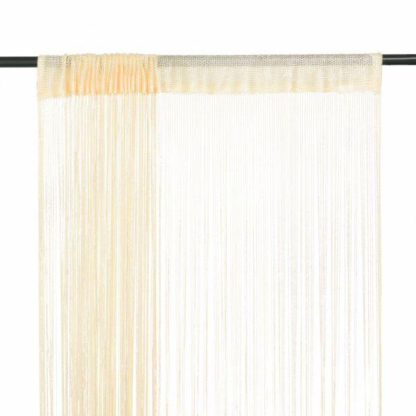 vidaXL Draperii cu franjuri, 2 buc., 140 x 250 cm, crem