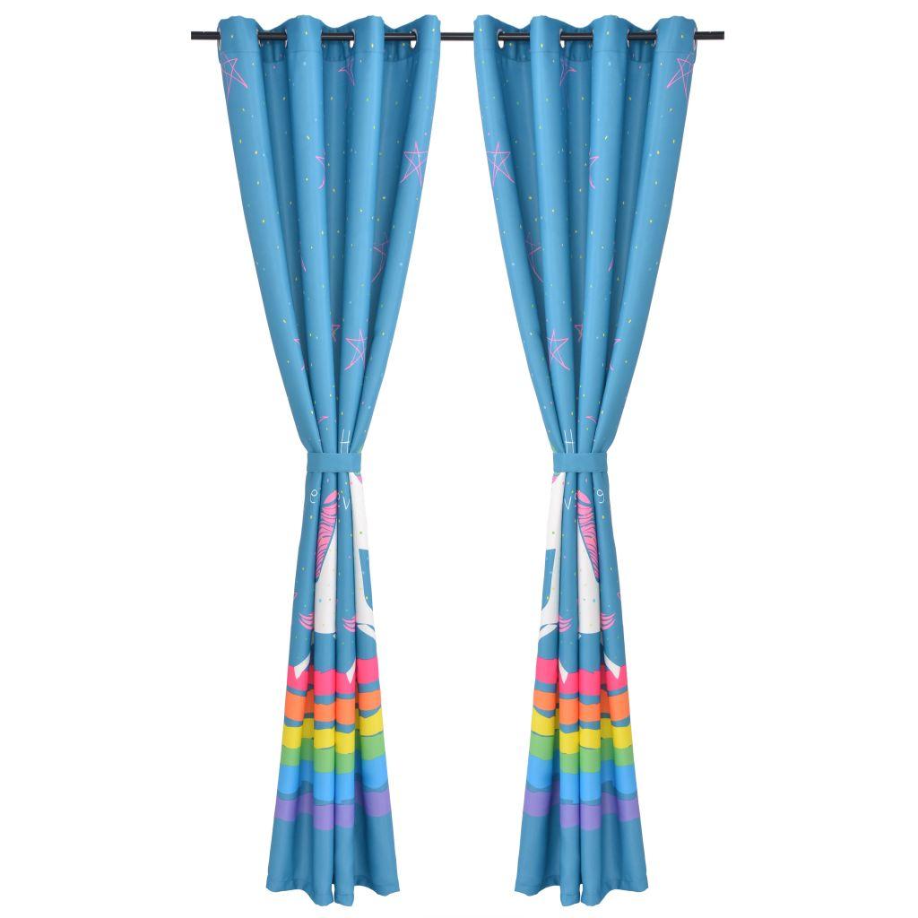 Draperii opace camera copiilor, 2 buc, 140 x 240 cm, albastru