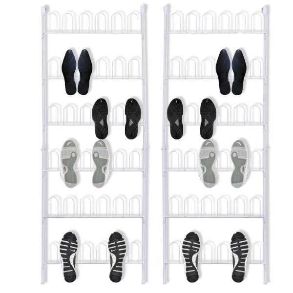 vidaXL Pantofar 18 perechi pantofi, din oțel, alb, 2 buc.