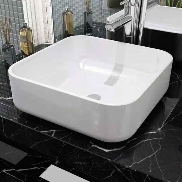 vidaXL Chiuvetă de baie din ceramică, pătrată, 38 x 38 x 13,5 cm, alb