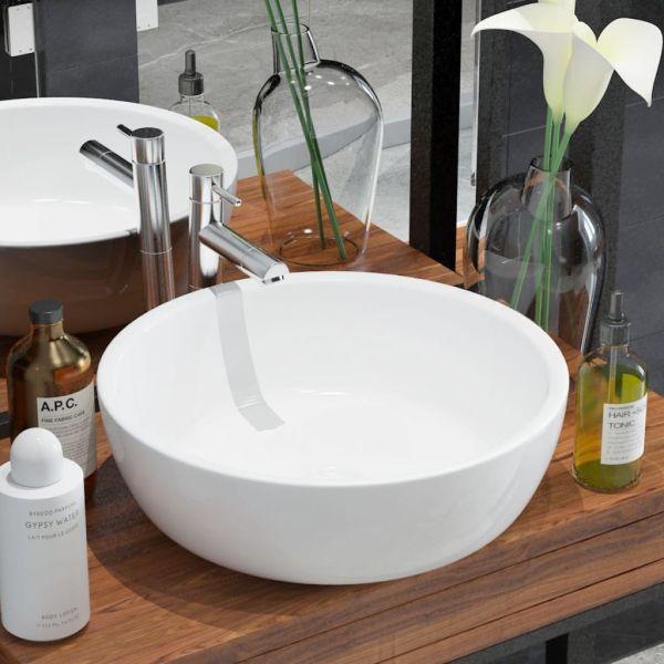 vidaXL Chiuvetă de baie din ceramică, rotundă, 42 x 12 cm, alb