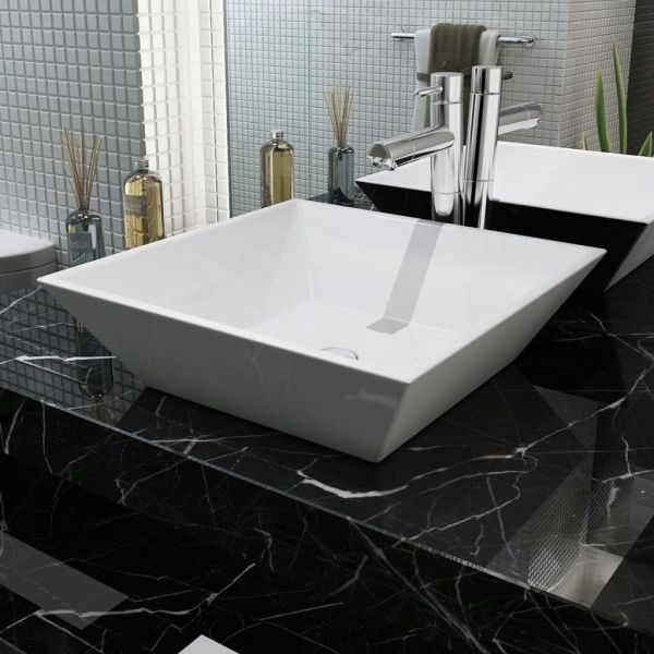 vidaXL Chiuvetă ceramică pătrată, alb, 41,5 x 41,5 x 12 cm