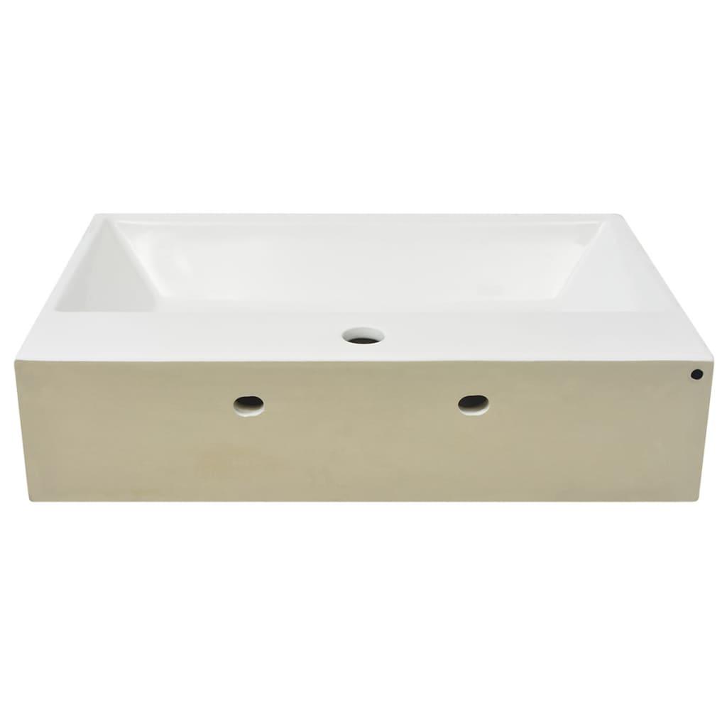 Chiuvetă cu orificiu robinet, ceramică 60,5×42,5×14,5 cm, alb