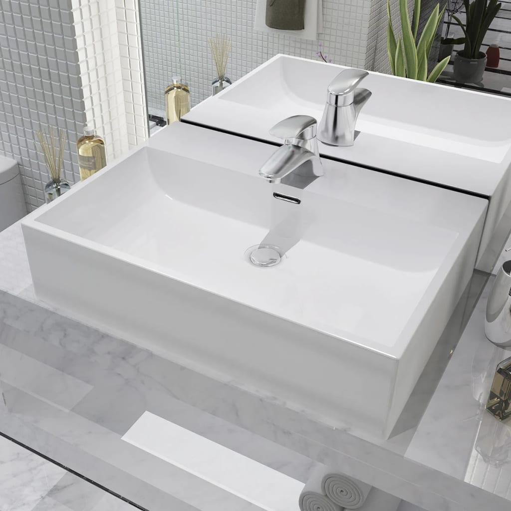 vidaXL Chiuvetă cu orificiu robinet, ceramică 60,5×42,5×14,5 cm, alb