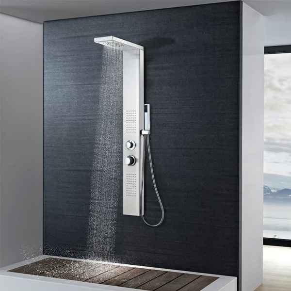 vidaXL Sistem panel de duș, pătrat, oțel inoxidabil