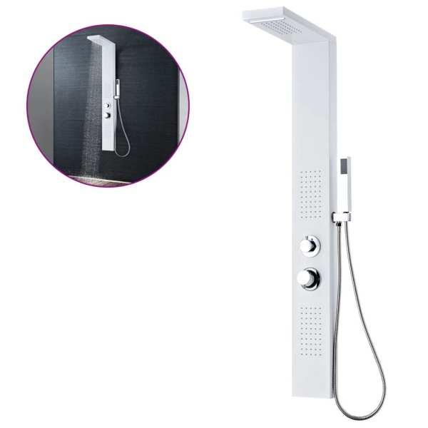 vidaXL Sistem panel de duș din aluminiu, alb mat