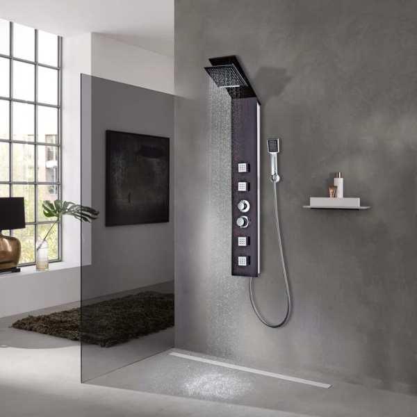 vidaXL Sistem cu panel de duș, sticlă, maro