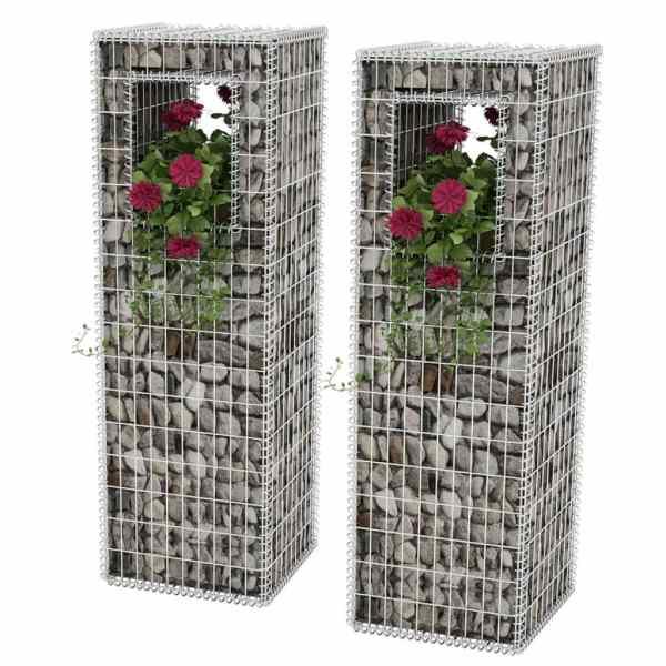 vidaXL Stâlpi coș gabion/jardinieră, 2 buc., oțel, 50 x 50 x 160 cm