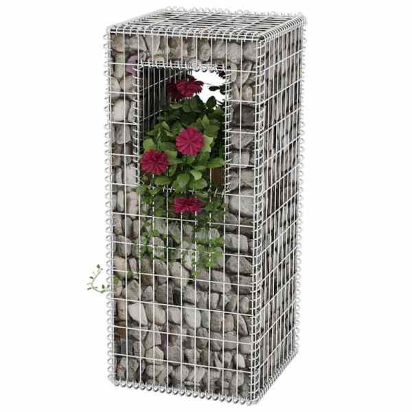 vidaXL Stâlp coș gabion/jardinieră, oțel, 50 x 50 x 120 cm