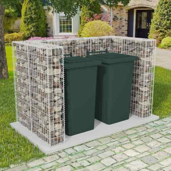 vidaXL Gabion dublu îngrădire pubelă, oțel, 180 x 100 x 120 cm