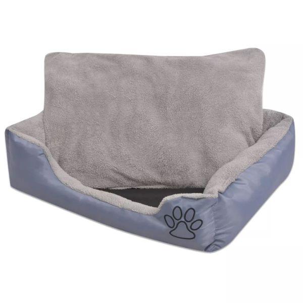 vidaXL Pat pentru câini cu pernă căptușită, mărime L, gri