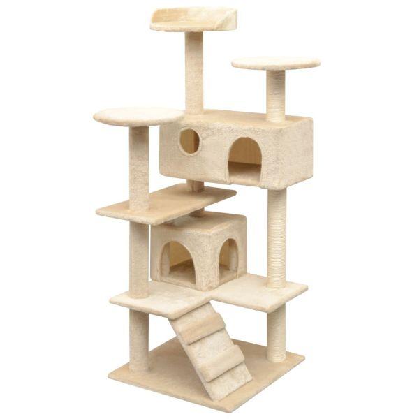 vidaXL Ansamblu pentru pisici cu funie de sisal, 125 cm, bej