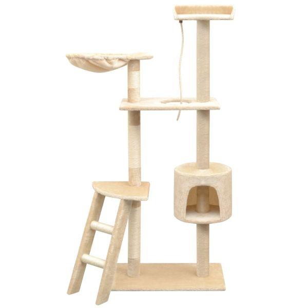vidaXL Ansamblu pentru pisici, stâlpi cu funie de sisal, 150 cm, bej