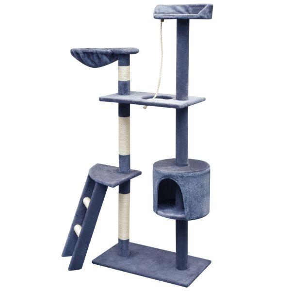 vidaXL Ansamblu pisici, stâlpi cu funie sisal, 150 cm, albastru închis