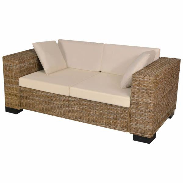 vidaXL Set canapea de 2 locuri din poliratan 7 piese