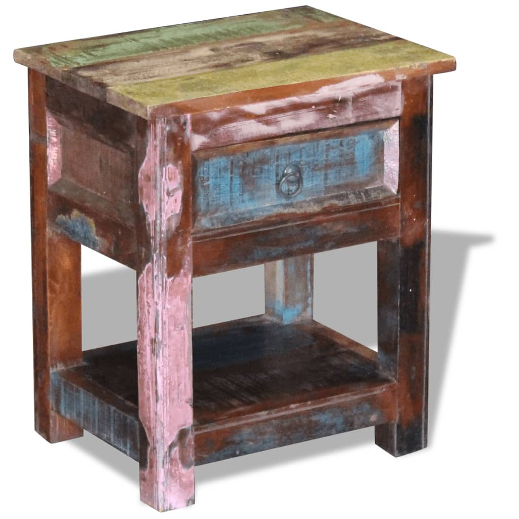 vidaXL Masă laterală cu un sertar din lemn solid de mango, 43 x 33 x 51 cm