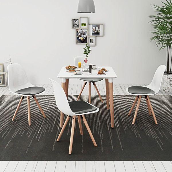 vidaXL Set masă și scaune de bucătărie, 5 piese, alb și negru