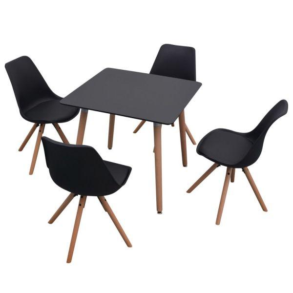 Set de masă și scaune de bucătărie, cinci piese, negru