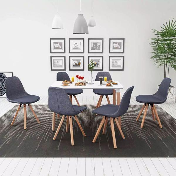 vidaXL Set masă și scaune de bucătărie, alb și gri închis, 7 piese