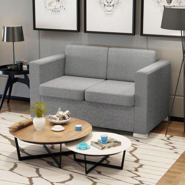 vidaXL Canapea cu 2 locuri, gri deschis, material textil