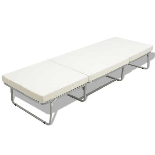 Pat pliabil cu saltea, alb, 70 x 200 cm, oțel