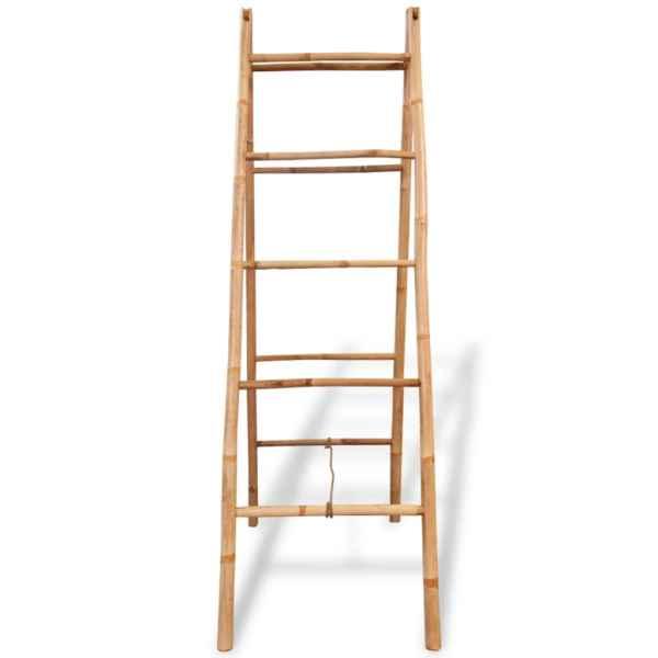 vidaXL Scară dublă pentru prosoape cu 5 trepte din bambus 50 x 160 cm