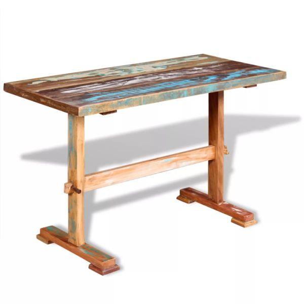 vidaXL Masă bucătărie tip piedestal, lemn solid reciclat 120x58x78 cm