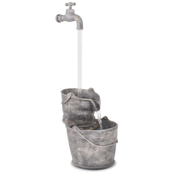 vidaXL Decor cu apă curgătoare, robinet și găleți, polirășină