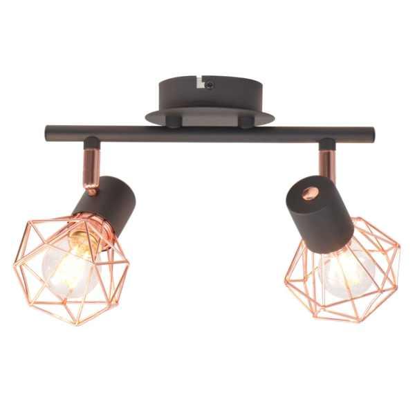 vidaXL Lampă de plafon cu 2 spoturi E14, negru și bronz