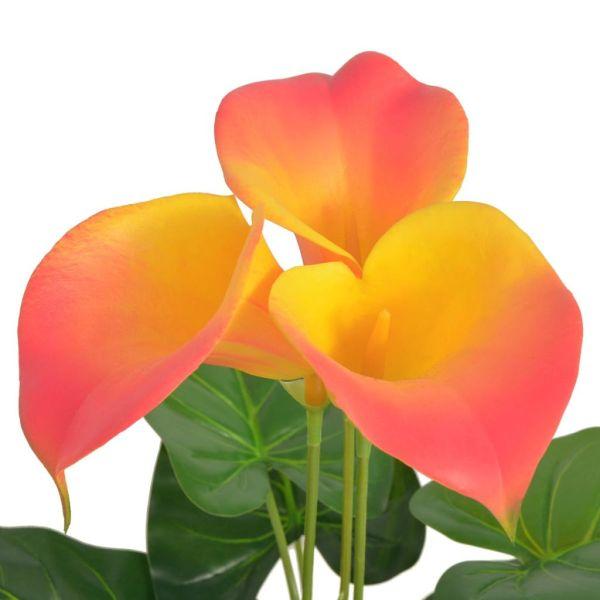 Floare de crin cală artificială cu vază, 85 cm, roșu și galben