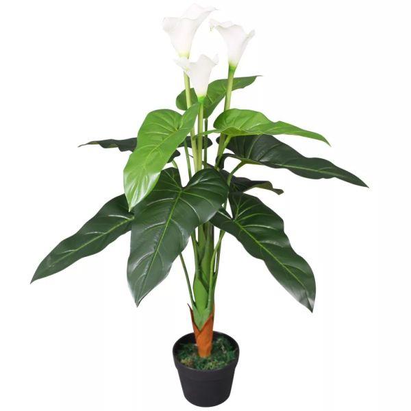 vidaXL Floare de cală crin artificială cu ghiveci, 85 cm, alb