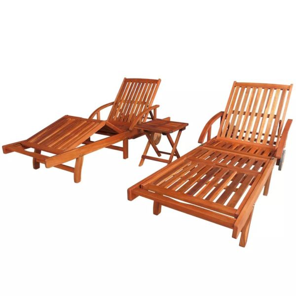 vidaXL Șezlonguri cu masă, 2 buc., lemn masiv de acacia