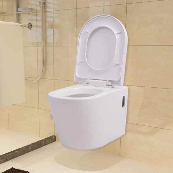 vidaXL Vas toaletă suspendat cu rezervor încastrat, ceramică, alb