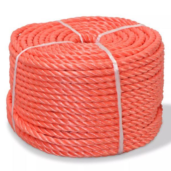 vidaXL Frânghie împletită polipropilenă 6 mm 200 m, portocaliu